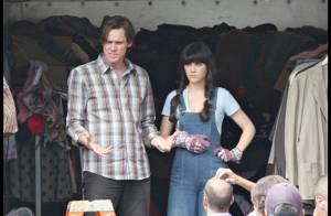 REPORTAGE PHOTOS : Jim Carrey et Zooey Deschanel, il lui dit 'oui' !