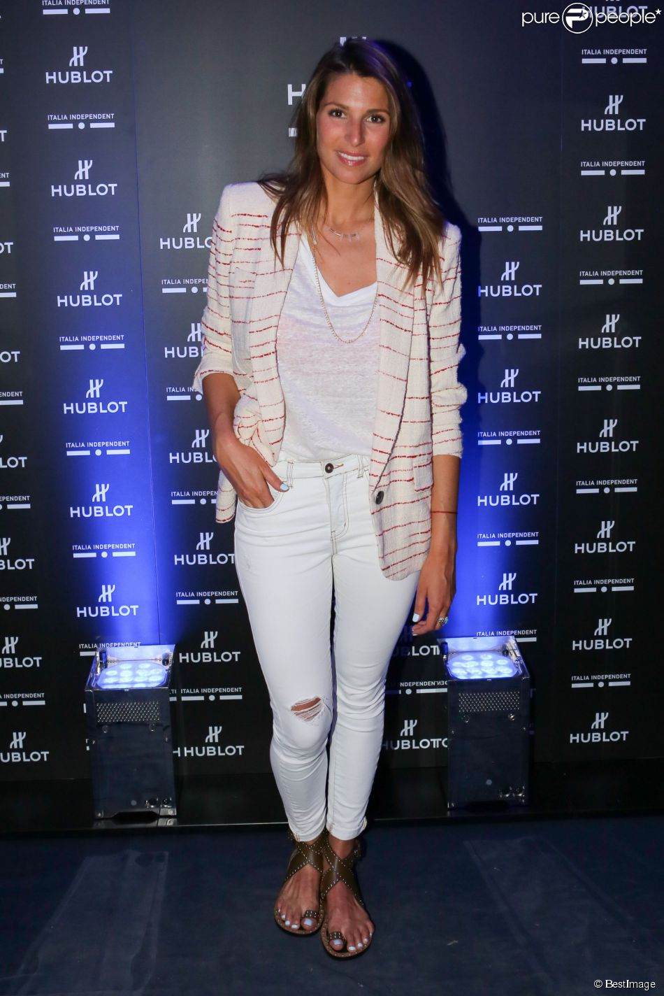 "Laury Thilleman - Soirée de lancement de la montre ""Big Bang Unico Italia Independent"" de Hublot au restaurant Monsieur Bleu à Paris, le 24 juin 2015."