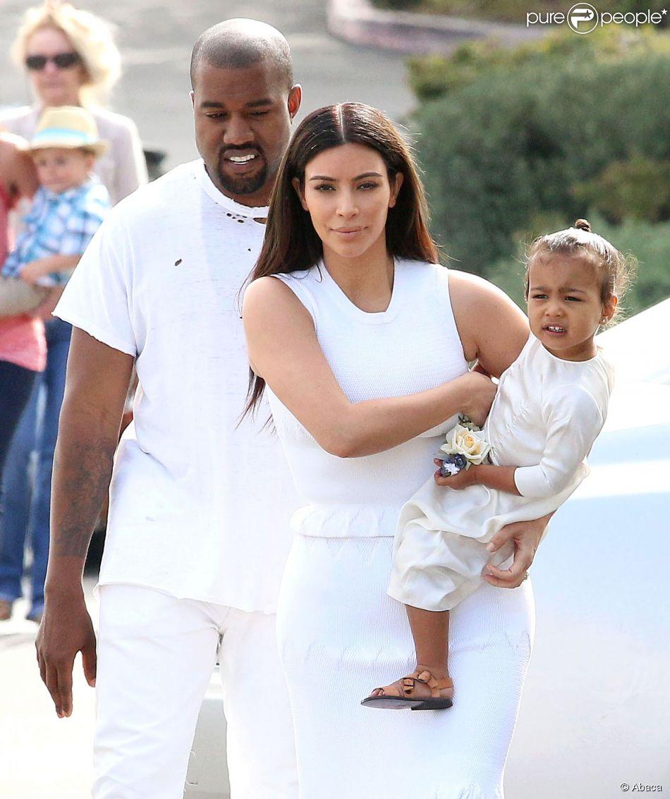 Kanye West, Kim Kardashian et leur fille North à Los Angeles, le 5 avril 2015.