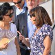 Exclusif - Rachida Dati et Anne Hidalgo, lors du premier jour du Longines Paris Eiffel Jumping au Champ-de-Mars à Paris, le 3 juillet 2015.