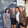 Exclusif - Anne Hidalgo, Virginie Coupérie Eiffel, Rachida Dati et Coco Coupérie Eiffel, lors du premier jour du Longines Paris Eiffel Jumping au Champ-de-Mars à Paris, le 3 juillet 2015.