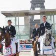 Karim Elzoghby sur Amelia, Ben Maher sur Cella et Patrice Delaveau sur Orient Express HDC lors du Paris Eiffel Jumping au Champ-de-Mars à Paris, le 5 juillet 2015 dans le cadre du Longines Global Champions Tour