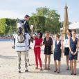 Ben Maher sur Cella, Rachida Dati et Virginie Coupérie-Eiffel lors du Paris Eiffel Jumping au Champ-de-Mars à Paris, le 5 juillet 2015 dans le cadre du Longines Global Champions Tour