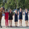 Patrice Delaveau sur Orient Express HDC, Rachida Dati et Virginie Coupérie-Eiffel lors du Paris Eiffel Jumping au Champ-de-Mars à Paris, le 5 juillet 2015 dans le cadre du Longines Global Champions Tour
