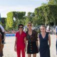 Pénélope Leprevost sur Vagabond de la Pomme, Rachida Dati et Virginie Coupérie-Eiffel lors du Paris Eiffel Jumping au Champ-de-Mars à Paris, le 5 juillet 2015 dans le cadre du Longines Global Champions Tour
