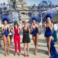 Rachida Dati, Virginie Coupérie-Eiffel et les danseuses du Lido - Remise du prix de la ville de Paris lors du Longines Paris Eiffel Jumping au Champ-de-Mars à Paris, le 5 juillet 2015.