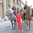 Exclusif - Prix Spécial - No Web No Blog - Rachida Dati salue les membres de la Garde Républicaine à l'issue du Longines Paris Eiffel Jumping au Champ-de-Mars à Paris, le 5 juillet 2015.05/07/2015 - Paris