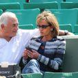 Dominique Strauss Kahn et sa compagne Myriam L'Aouffir dans les tribunes des Internationaux de France de tennis de Roland Garros le 30 mai 2015 à Paris