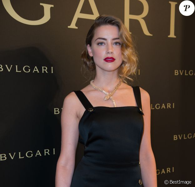 Amber Heard - Cocktail Bulgari Haute-Couture à Paris le 7 juillet 2015.
