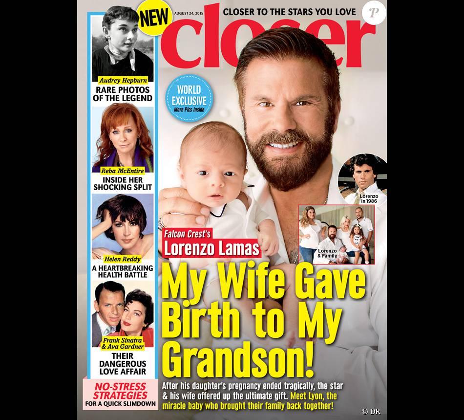 Lorenzo Lamas pose avec son petit-fils Lyon en couverture du magazine Closer.