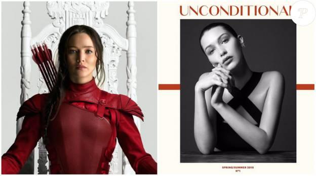Jennifer Lawrence à gauche sur l'affiche de Mockingjay Part 2 et Bella Hadid en couverture du magazine Unconditional