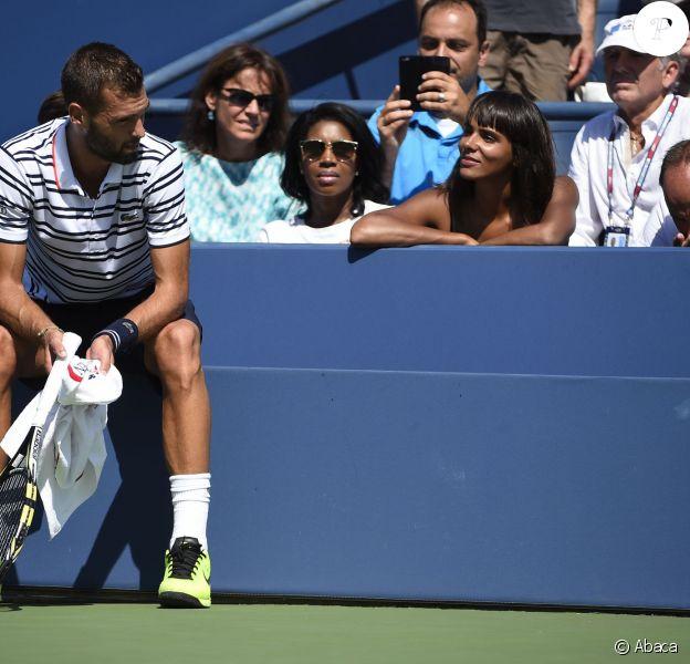 Benoît Paire et Shy'm lors du huitième de finale du Français à l'USTA Billie Jean King National Tennis Center de Flushing dans le Queens à New York le 6 septembre 2015