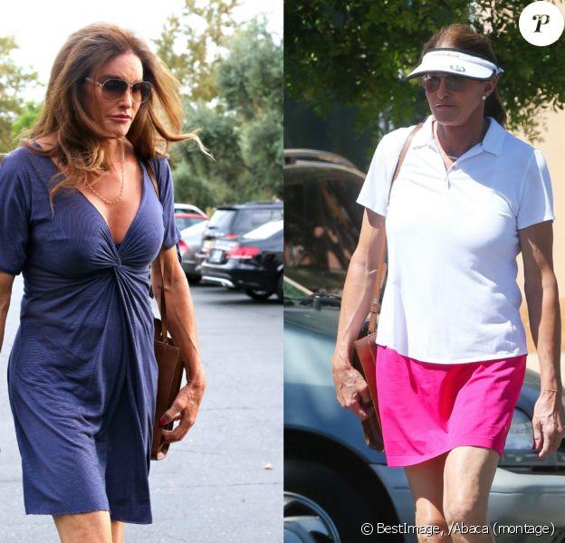 À gauche, Caitlyn Jenner se rend au cinéma, en petite robe très décolletée, le 21 septembre. À droite, en tenue de sport à Los Angeles le 17 spetembre 2015.