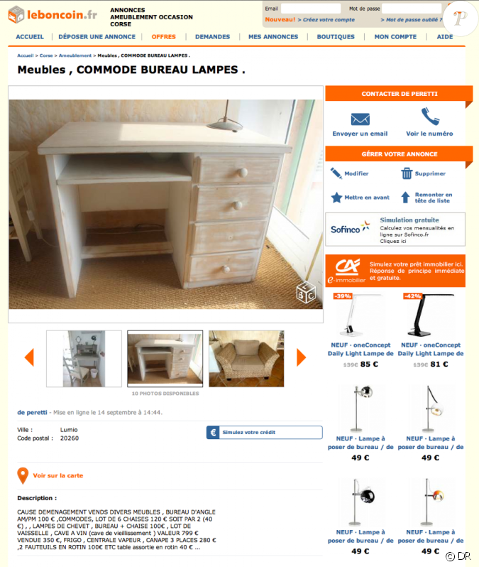 guy bedos vend les meubles de sa maison corse en vente sur. Black Bedroom Furniture Sets. Home Design Ideas