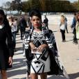 Janelle Monáe arrive au jardin des Tuileries pour assister au défilé Valentino (collection prêt-à-porter printemps-été 2016). Paris le 6 octobre 2015.
