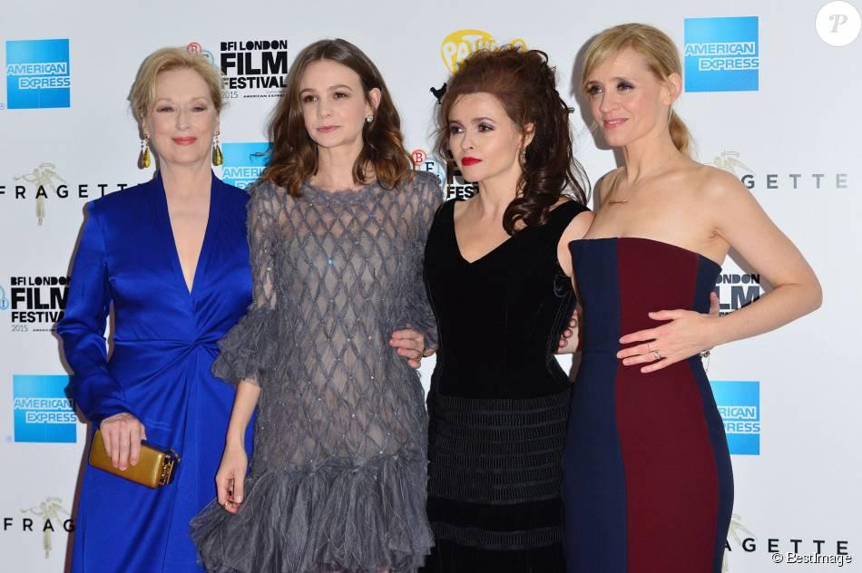 """Meryl Streep, Carey Mulligan, Helena Bonham-Carter et Anne-Marie Duff - Première du film """"Les Suffragettes"""" à l'Odéon Leicester Square à Londres le 7 octobre 2015."""
