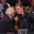 """Martin Scorsese rencontre Gabriel-Kane Day-Lewis sur le plateau du """"Grand Journal"""" de Canal+, le 12 octobre 2015."""