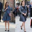 A gauche : la duchesse Catherine de Cambridge en mars 2012 à la galerie Dulwich, à Londres / à droite : le 27 octobre 2015 à Londres pour une rencontre avec l'association Chance UK.