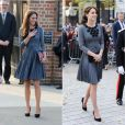 Kate Middleton, duchesse de Cambridge, en robe Orla Kiely, arrive à l'Hôtel de Ville d'Islington, dans le nord de Londres, pour une rencontre avec l'association Chance UK, le 27 octobre 2015.