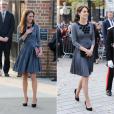 Kate Middleton, duchesse de Cambridge, en robe Orla Kiely, arrive à l'Hôtel de Ville d'Islington, dans le nord de Londres, pour une rencontre avec l'association Chance UK, le 27 octobre 2015.