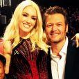 Gwen Stefani et Blake Shelton ainsi que Pharrell Williams sur le plateau de l'émission The Voice US / photo postée sur Instagram.
