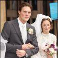 Leah Wood lors de son mariage à Jack MacDonaldà Londres, le 21 juin 2008.