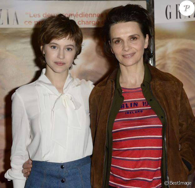 """Lou de Laâge et Juliette Binoche - Avant-première du film """"L'Attente"""" au cinéma UGC Ciné Cité des Halles à Paris, le 7 Décembre 2015."""
