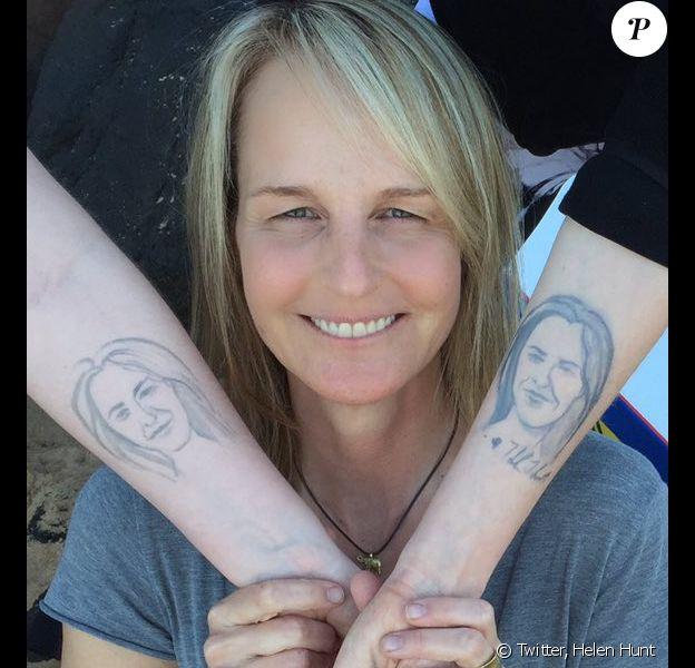 Helen Hunt dévoile le tatouage de sa fille Makena (photo postée le 3 janvier 2016).