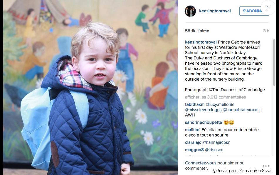 Le prince George fait sa première rentrée des classes le 6 janvier 2016.