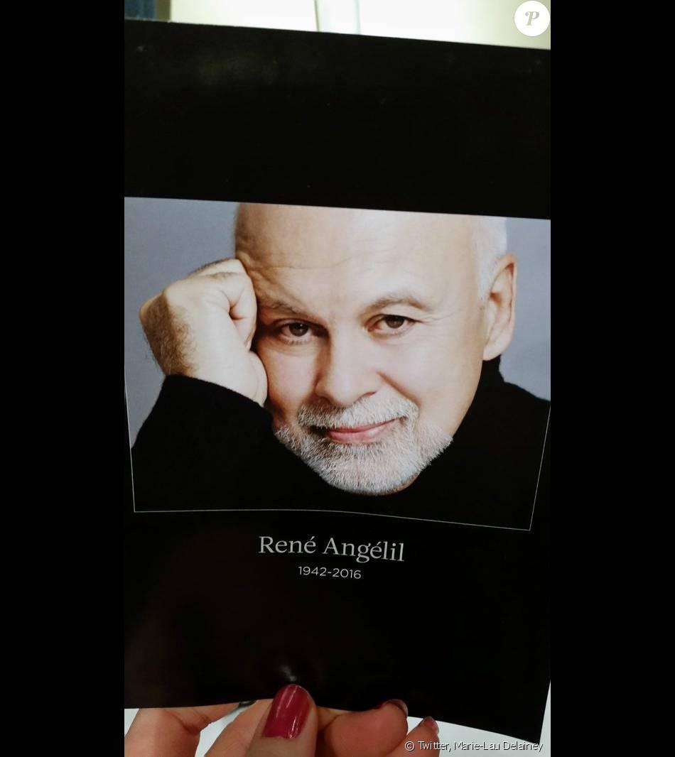 Le petit mot donné à toutes les personnes venues rendre hommage à René Angélil le 21 janvier 2016 à Montréal - Photo publiée le 22 janvier 2016