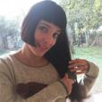 Erika Moulet assume entièrement sa coupe de cheveux comme en témoigne ce cliché posté sur sno compte Instagram. Le 21 janvier 2015.