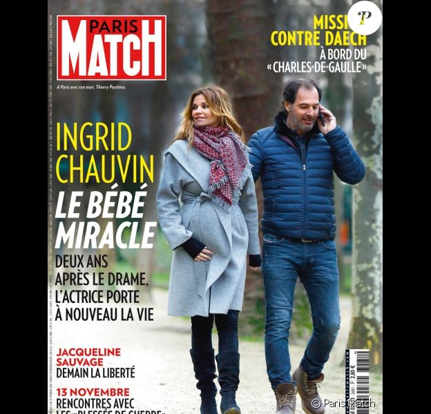 Ingrid Chauvin enceinte en couverture de Paris Match