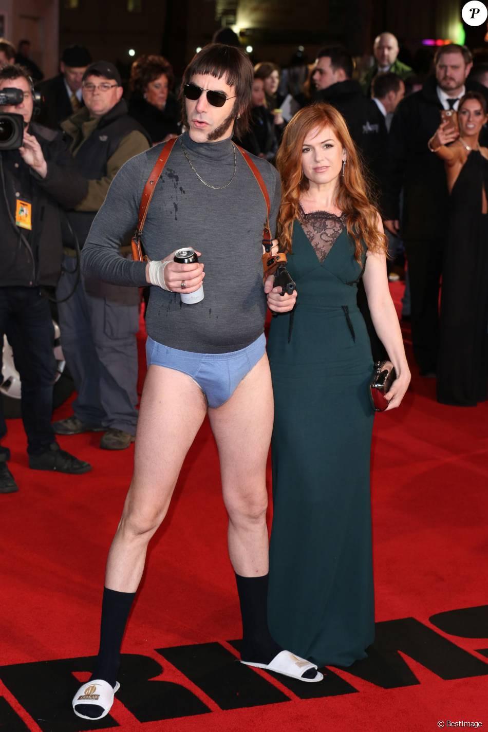 """Sacha Baron Cohen et sa femme Isla Fisher - Avant-première du film """"Grimsby - Agent trop spécial"""" à Londres, le 22 février 2016."""