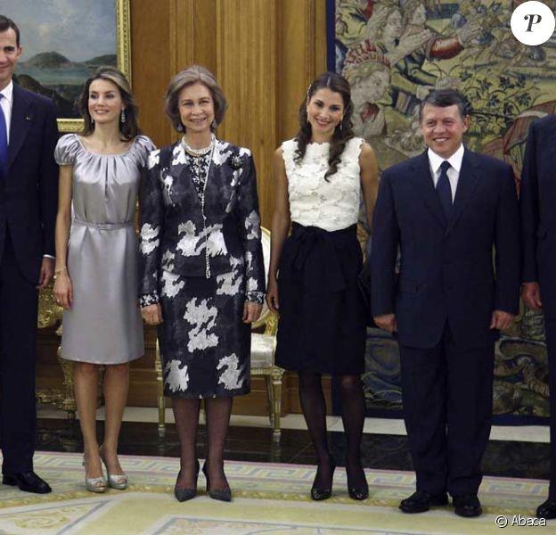 Felipe, Letizia, Sofia, Rania de Jordanie, Abdallah, Juan Carlos
