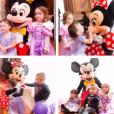 Jade Foret, ses enfants, Liva (3 ans), Mila (2 ans) et Nolan (2 mois) à Disneyland Paris pour l'anniversaire de Mila. Mars 2016.