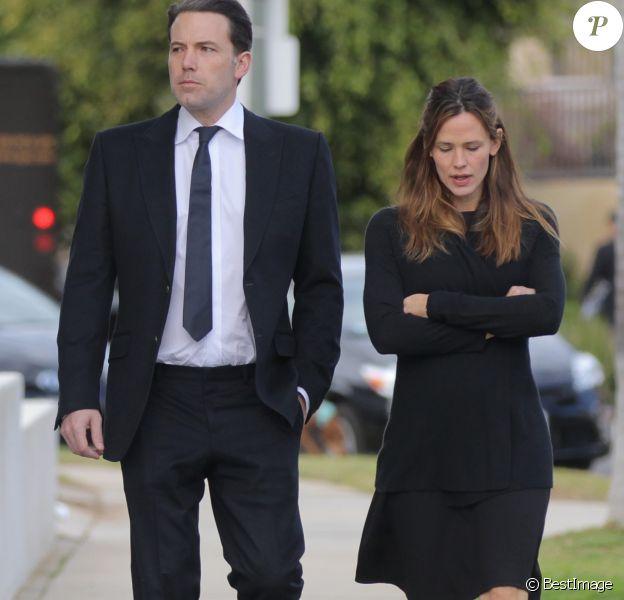 Exclusif - Jennifer Garner et Ben Affleck quittent un enterrement à Los Angeles, le 4 janvier 2016.