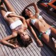 """Josephine Skriver, Sara Sampaio - Les anges de Victoria's Secret posent avec la nouvelle Nouvelle collection de maillots de bain """"Very Sexy"""" pour le nouveau catalogue 2016 à Saint-Barthélemy, le 7 avril 2016."""