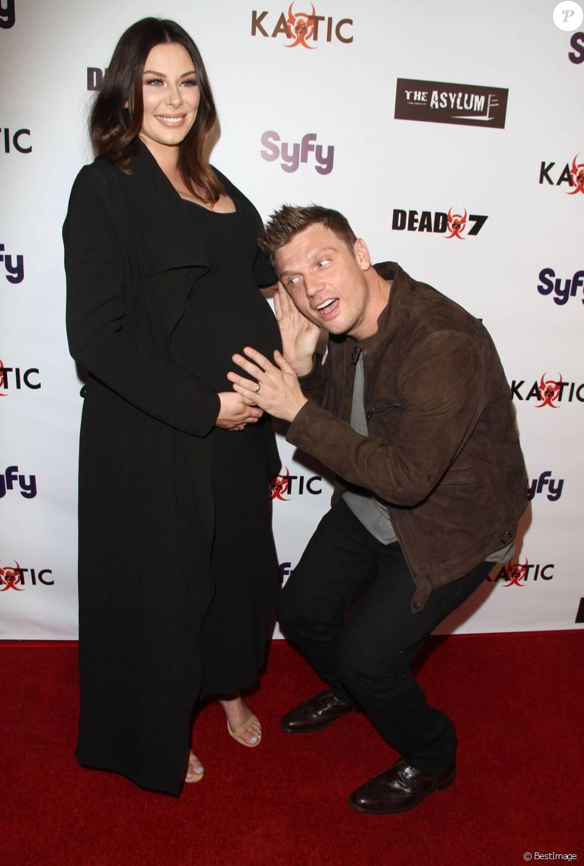 """Nick Carter et sa femme Lauren Kitt Carter enceinte - Première du film """"Syfy's 'Dead 7"""" à Los Angeles le 1er avril 2016."""