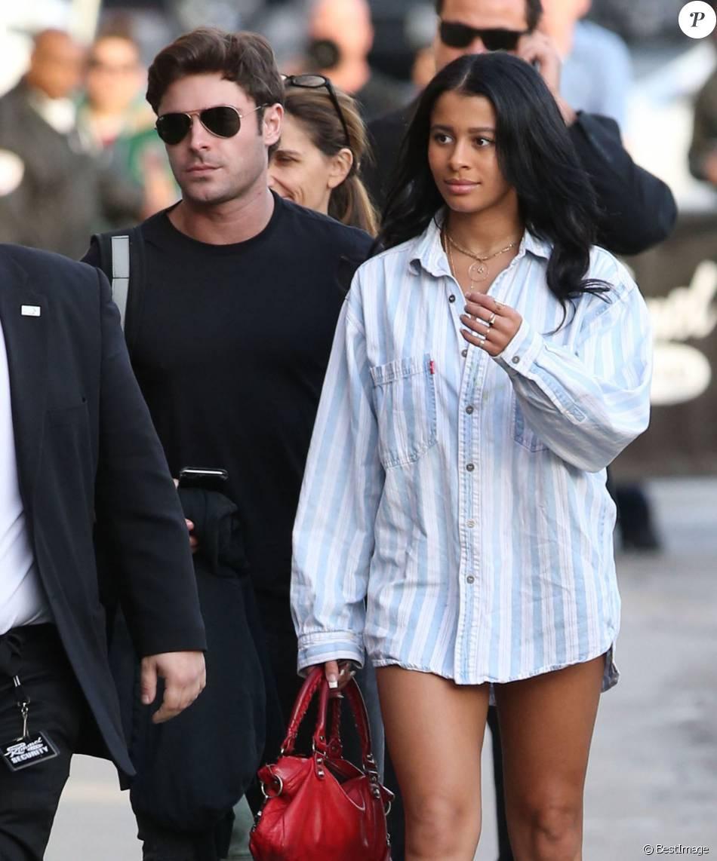 """Zac Efron et sa petite-amie Sami Miro - Arrivée des people dans les studios de l'émission """"Jimmy Kimmel Live!"""" à Hollywood, le 21 janvier 2016."""