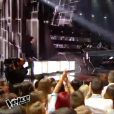 Clément Verzi, Slimane, MB14 et Antoine lors de la finale de The Voice 5, sur TF1, le samedi 14 mai 2016