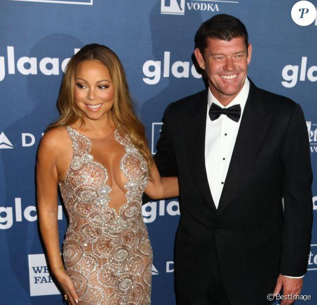 Mariah Carey et son fiancé James Packer à la 27ème soirée annuelle Glaad Media à The Waldorf-Astoria à New York. Les amoureux devraient se dire oui dans le cadre de la téléréalité de la diva, actuellement en tournage. le 14 mai 2016 © Nancy Kaszerman via Bestimage