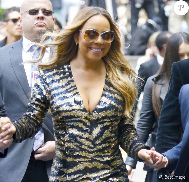 Mariah Carey à son arrivée au Rockefeller Center à New York le 16 mai 2016