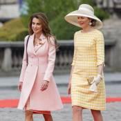 "Rania de Jordanie, divine en rose, ""merveilleusement"" accueillie en Belgique"