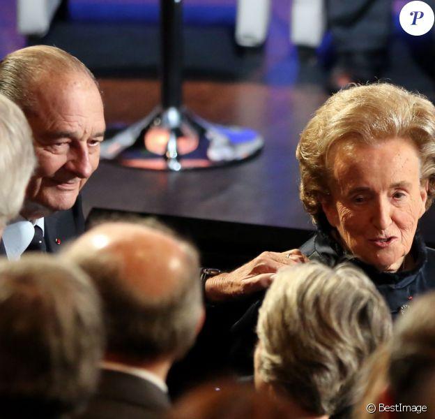 Jacques et Bernadette Chirac - Ceremonie de remise du Prix pour la prevention des conflits de la Fondation Chirac au musee du quai Branly. Paris, le 21 Novembre 2013