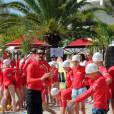 Exclusif - La princesse Charlene de Monaco et sa Fondation organisaient le 6 juin 2016 sur la plage du Larvotto une nouvelle journée d'action du programme Water Safety pour la prévention de la noyade, avec l'aide de grands champions comme Alain Bernard et Pierre Frolla. © Bruno Bebert / Pool restreint Monaco / Bestimage - Crystal - Visual