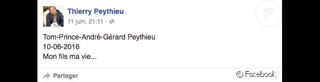 Thierry Peythieu, le mari d'Ingrid Chauvin, dévoile le prénom complet de leur fils. Juin 2016.