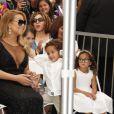 Mariah Carey et ses enfants Moroccan Cannon et Monroe Cannon - Mariah Carey reçoit son étoile sur le Walk of Fame à Hollywood, le 5 août 2015.