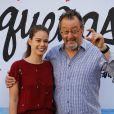 Jean Reno et Laia Costa tournent un spot pour la marque de bière espagnole Estrella Damm à Barcelone le 7 juin 2016.