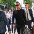David Beckham arrive à la Gare du Nord pour prendre un Eurostar à destination de Londres. Paris, le 23 juin 2016.