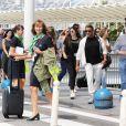 Sylvester Stallone et sa femme Jennifer Flavin arrivent à l'aéroport de Nice avec leurs filles Sophia Rose, Sistine Rose et Scarlet Rose le 5 juillet 2016.